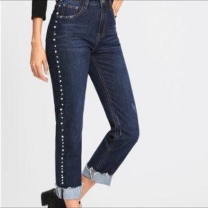 Pearl Beaded Hem Jeans